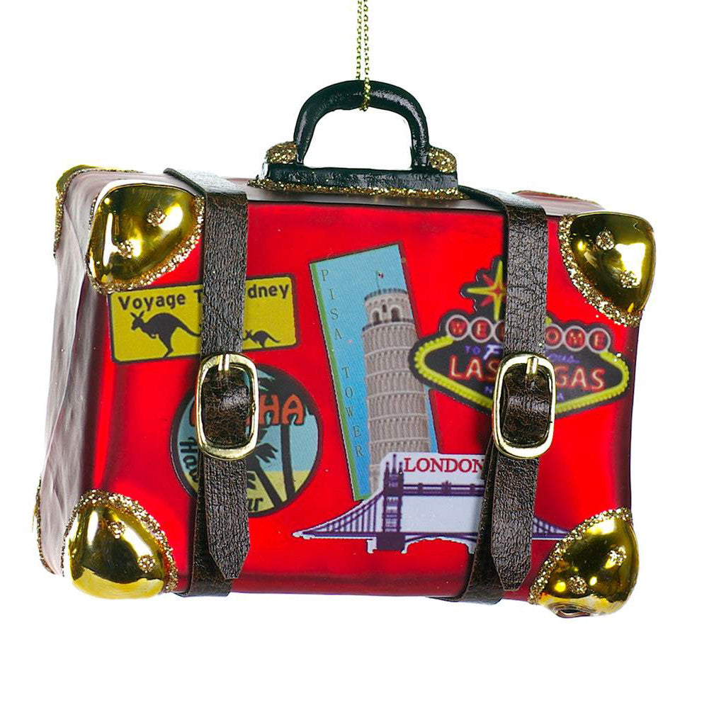 Red Vintage Suitcase Glass Christmas Ornament, CT-Christmas Tradition, Putti Fine Furnishings
