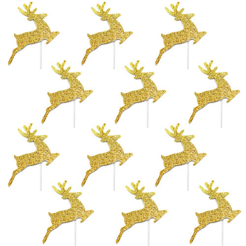 Gold Glitter Reindeer Cake Toppers, BM-Balloon Market, Putti Fine Furnishings