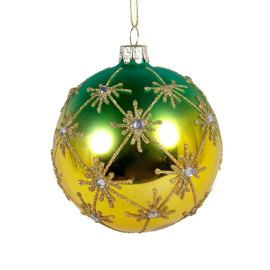 Green Ombre Glass Ornament with Stars