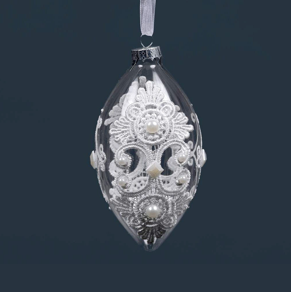 Clear Drop Ornament with White Lace and Pearls, CT-Christmas Tradition, Putti Fine Furnishings