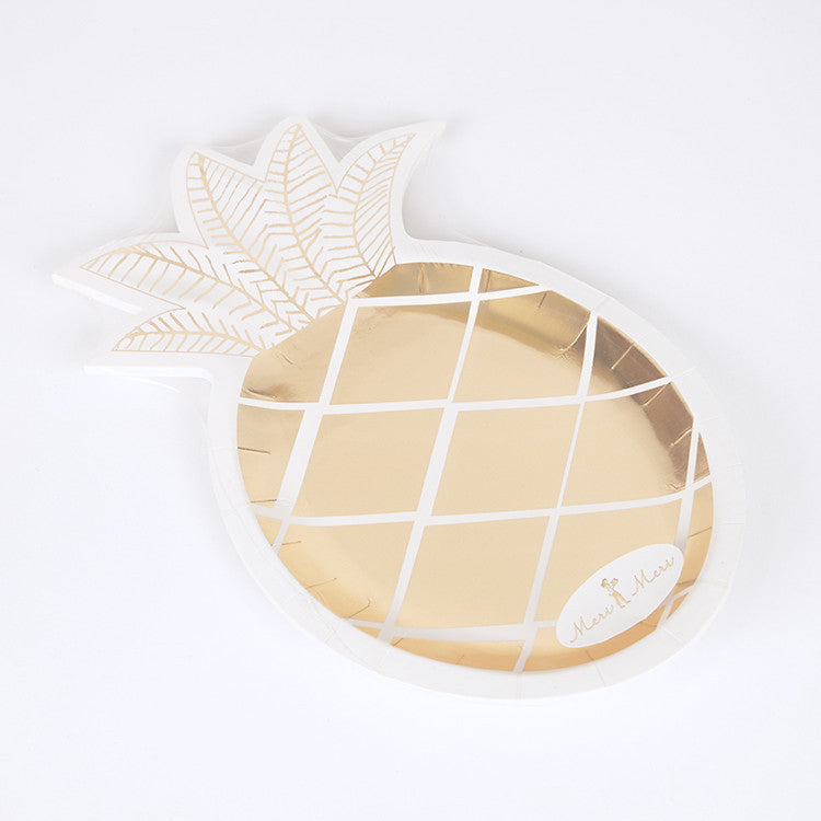 Meri Meri  Gold Pineapple Plate -  Party Supplies - Meri Meri UK - Putti Fine Furnishings Toronto Canada - 1
