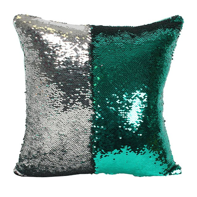 Silver and Aqua Green Reversible Sequin Pillow