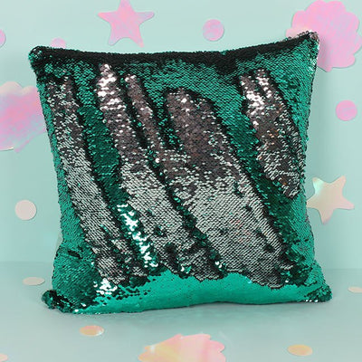 Silver and Aqua Green Reversible Sequin Pillow, SD-Something Different, Putti Fine Furnishings