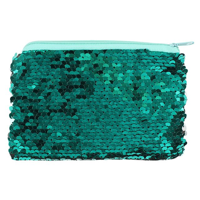 Silver and Aqua Green Reversible Sequin Small Purse