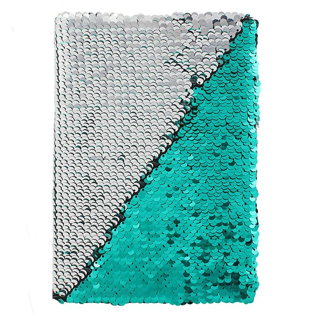 Silver and Aqua Green Reversible Sequin Note Book