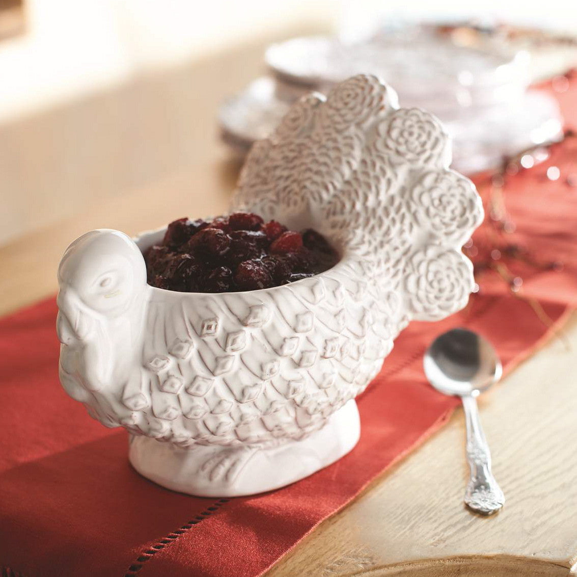 White Ceramic Turkey Serving Dish, MP-Mud Pie, Putti Fine Furnishings