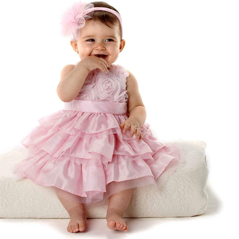 Pink Rosette Dress with Ruffles, MP-Mud Pie, Putti Fine Furnishings
