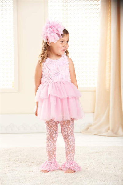 ebb587bd2 Mud Pie Pink Rosette Dress with Leggings - Putti Fine Furnishings