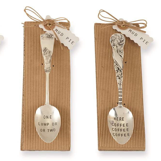 Stamped Coffee Spoons, MP-Mud Pie, Putti Fine Furnishings