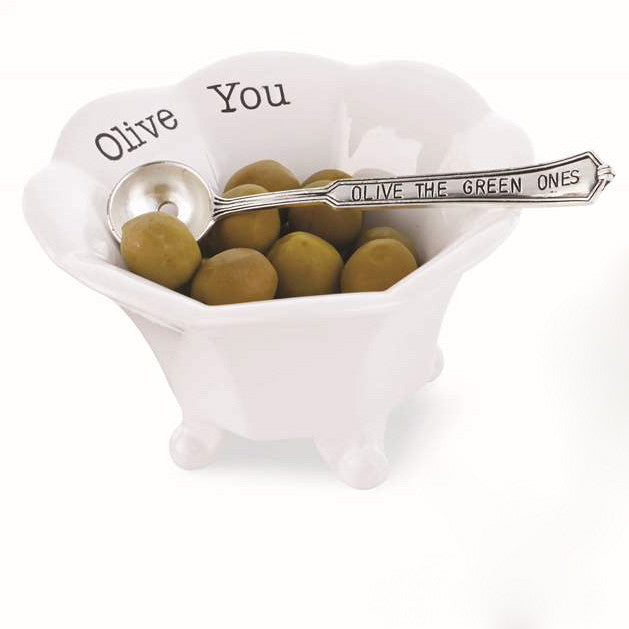 """Olive You"" Ceramic Olive Bowl and spoon set-Serving Pieces-MP-Mud Pie-""The Green Ones""-Putti Fine Furnishings"