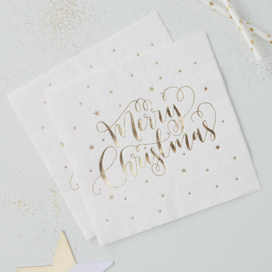 "Foiled ""Merry Christmas"" Paper Napkins - Gold"