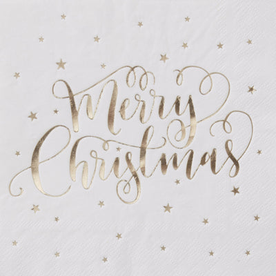 "Foiled ""Merry Christmas"" Paper Napkins - Gold, GR-Ginger Ray UK, Putti Fine Furnishings"