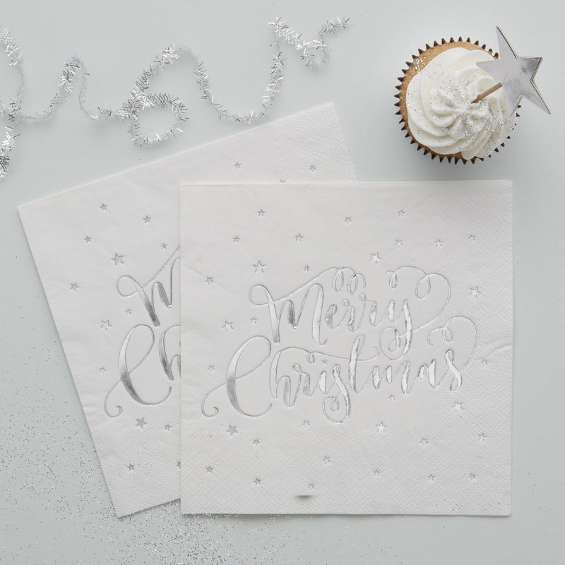 "Foiled ""Merry Christmas"" Paper Napkins - Silver"