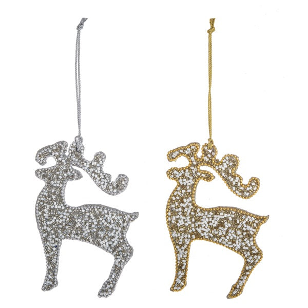 Gold & Silver Beaded Stag Ornament | Putti Christmas Celebrations Canada