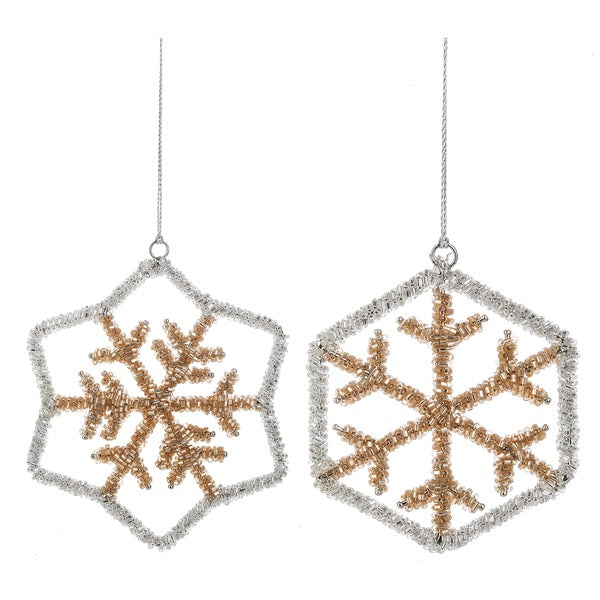 Gold & Silver Beaded Snowflake Ornament | Putti Christmas Celebrations