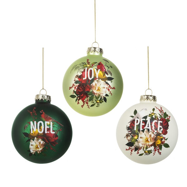Bird Floral Art Ball Glass Ornament - Noel
