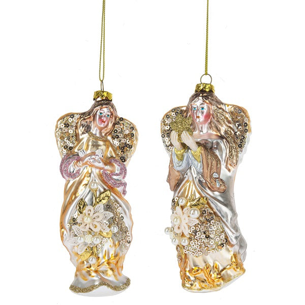Pastel Angel with Dove Glass Ornament