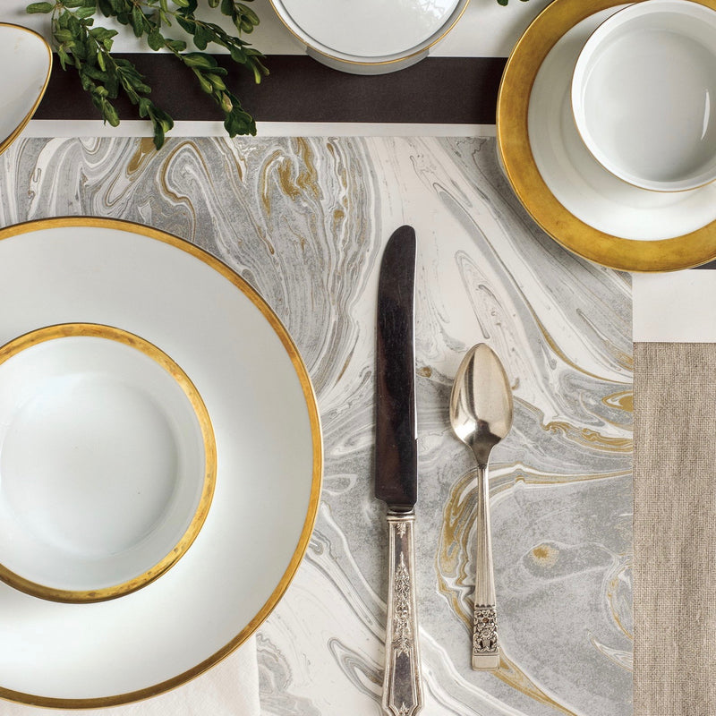 Hester & Cook Gray & Gold Marbled Paper Placemats