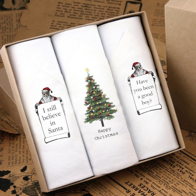 "Tamielle ""Christmas"" Box of Three Men's Hankies -  Personal Accessories - Tamielle - Putti Fine Furnishings Toronto Canada"