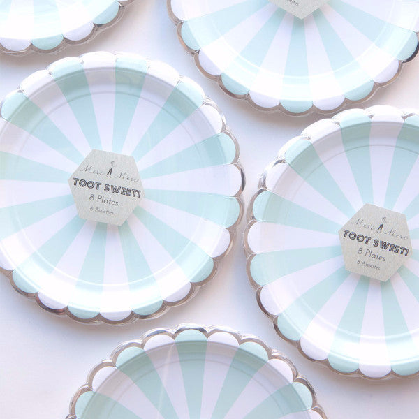 "Meri Meri ""Toot Sweet"" Aqua and White Striped - Large Paper Plates"