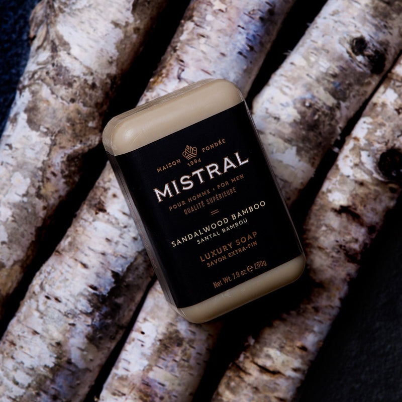 Mistral Men's Soap Sandalwood Bamboo | Putti Fine Furnishings Canada