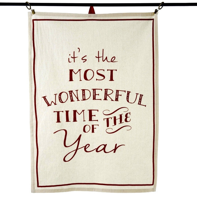 """It's the most wonderful time of the year"" Tea Towels"