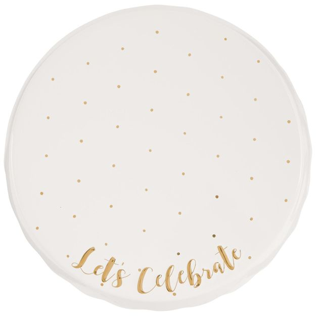 "Mud Pie ""Let's Celebrate"" Cake Pedestal"