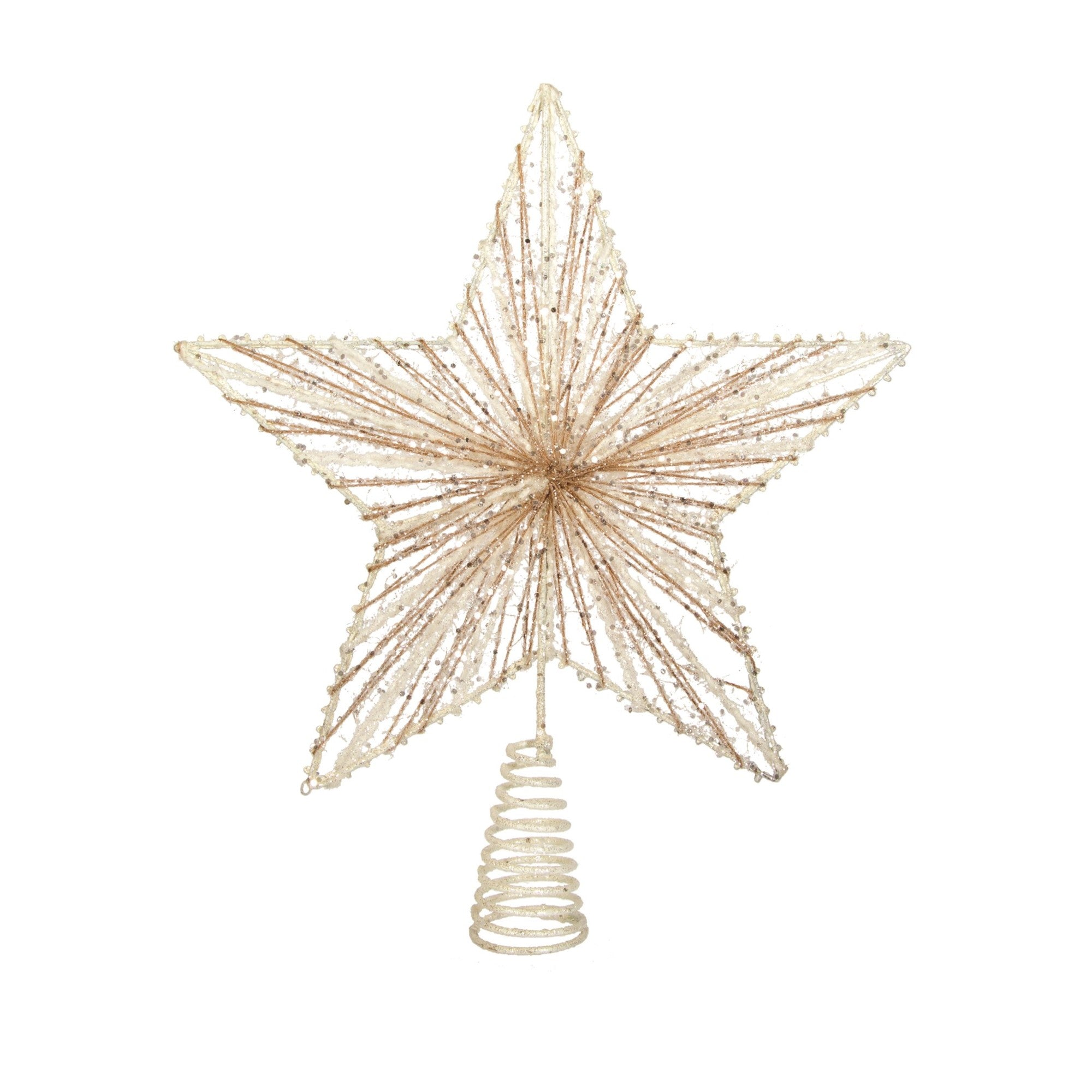 Ivory Yarn and Natural Jute Star Tree Topper | Putti Christmas