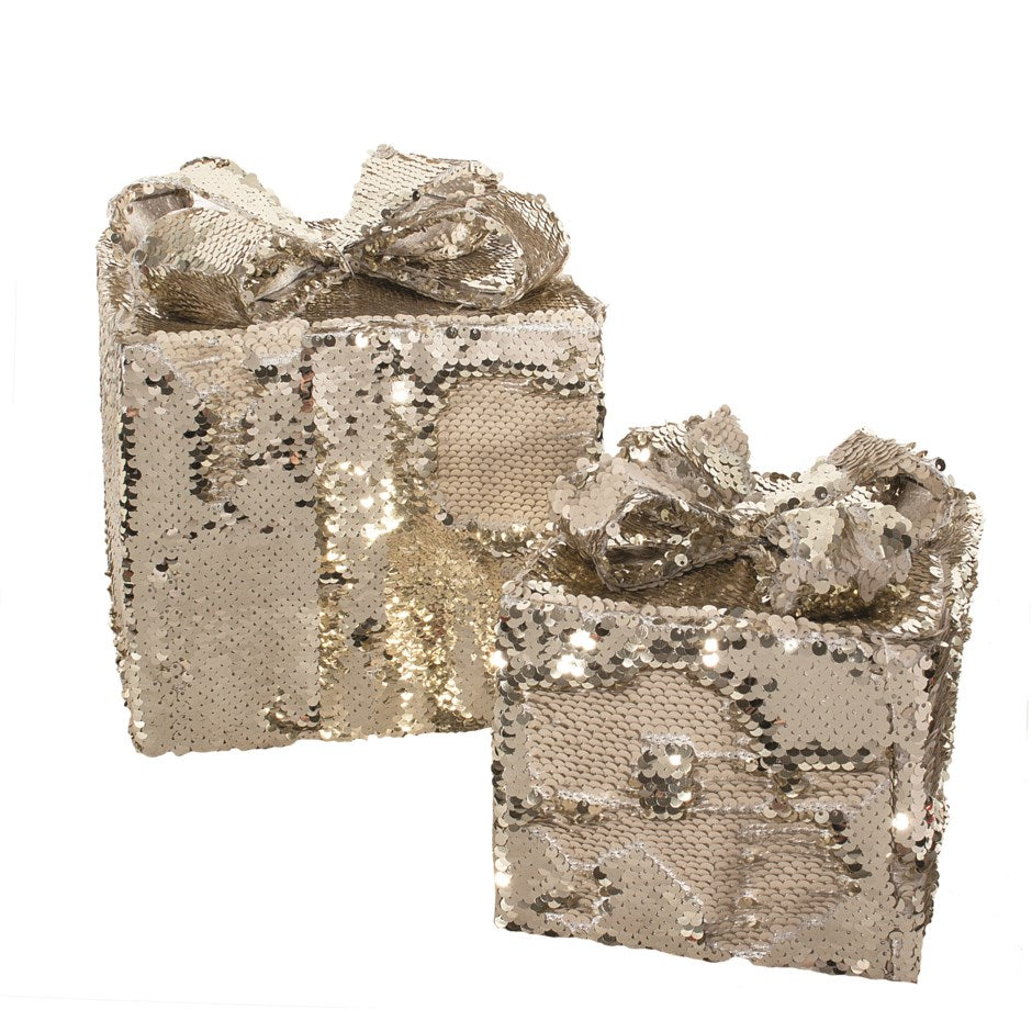 Gold and White Reversible Sequin Decorative Gift Boxes
