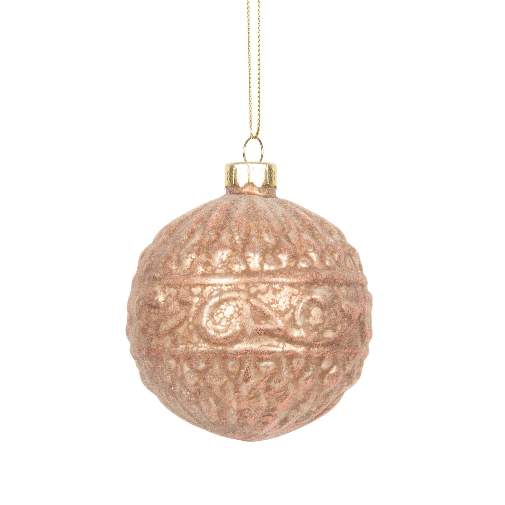 Blush Pink Embossed Ball Ornament | Putti Christmas
