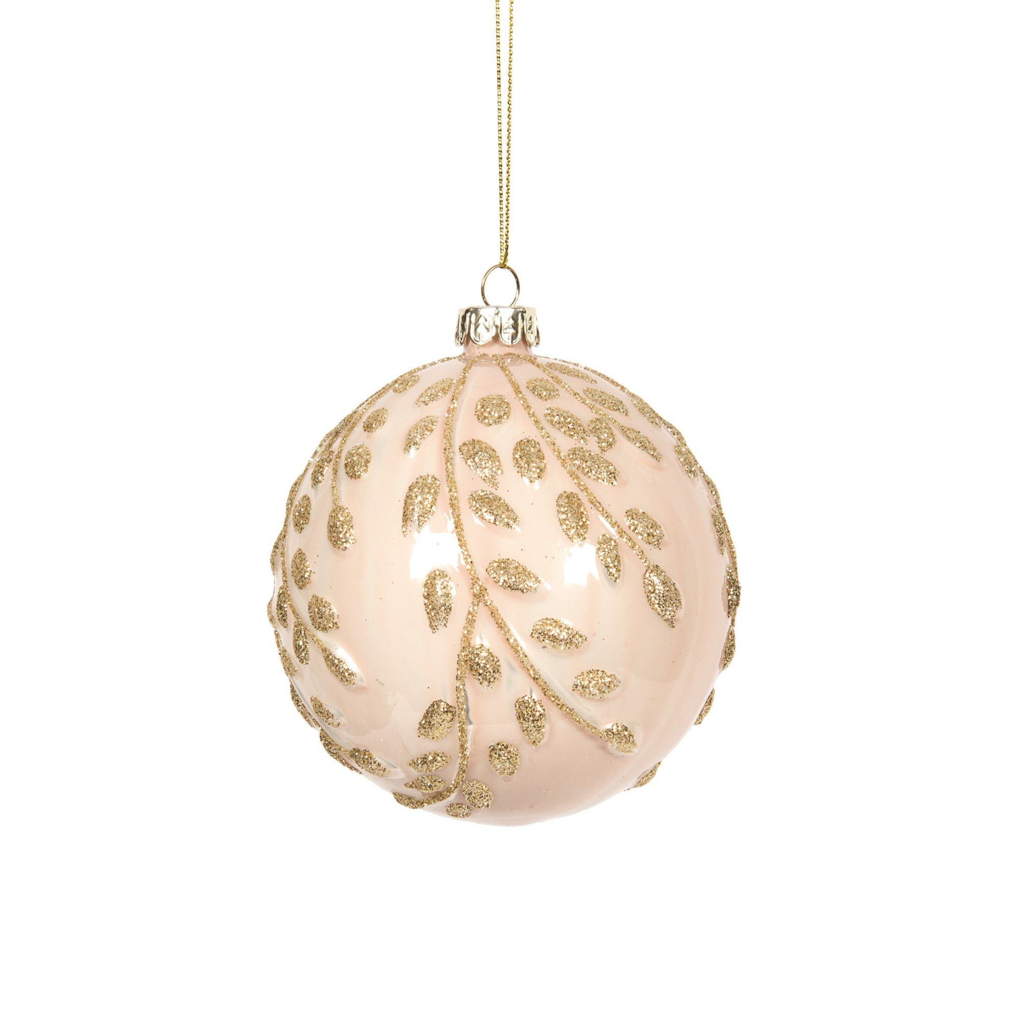Blush Pink with Gilded Leaves Ball Ornament | Putti Christmas