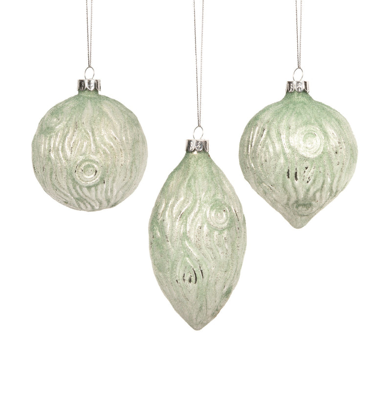 Mint Green Bark Texture Glass Ball Ornament | Putti Decorations