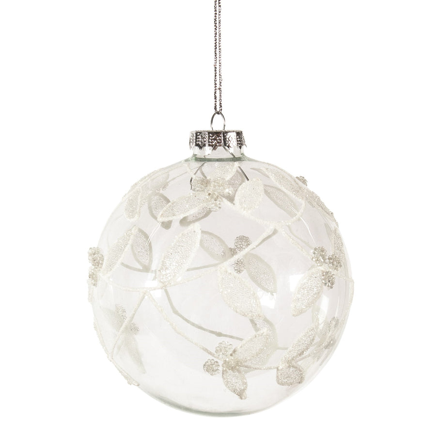 Clear with White Leaves Glass Ball Ornament