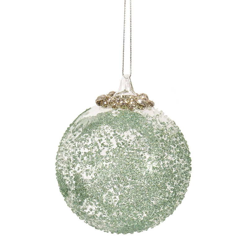 Mint Green Beaded Glass Ball Ornament with Rhinestone Top | Putti Christmas
