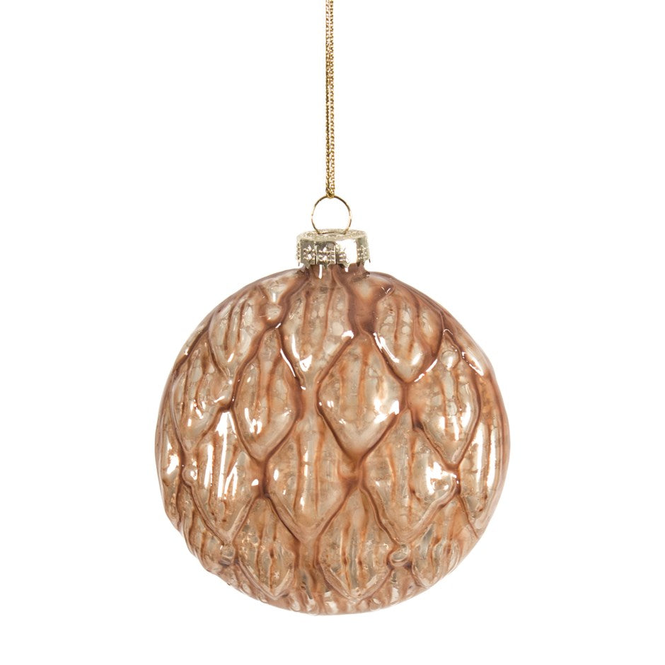 Pearlized Rose Gold Quilted Glass Disc Ornament | Putti Christmas