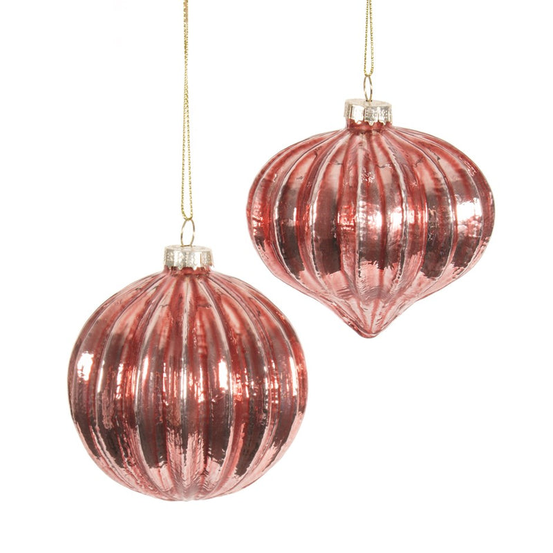 Blush Pink Ribbed Glass Ball Ornament