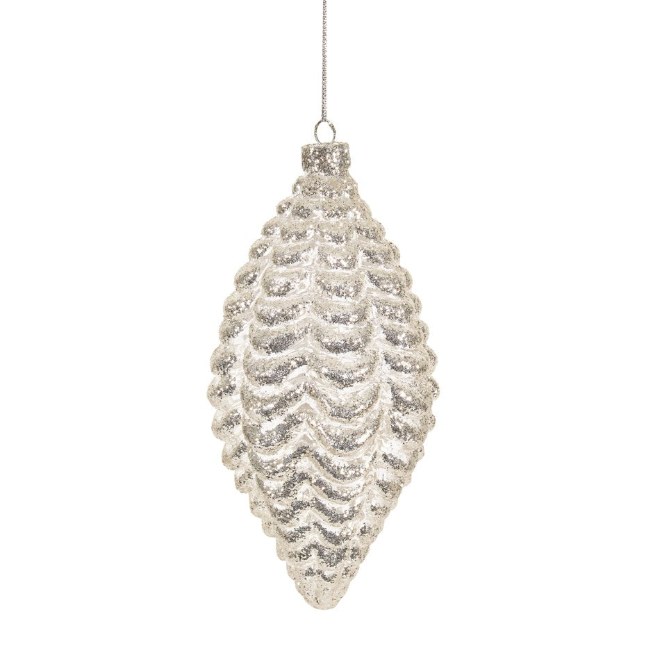 Silver Embossed Double Point Glass Ornament  | Putti Christmas Decorations Canada