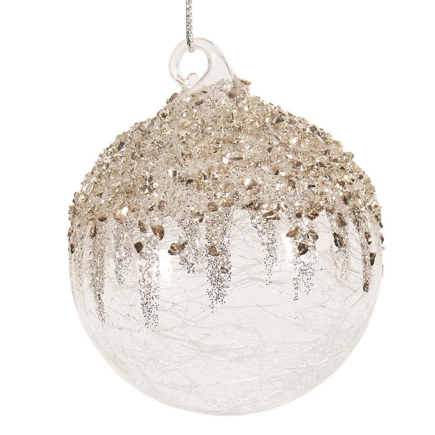 Clear Crackle With Gold And Silver Glitter Glass Ball Ornament Putti Christmas Putti Fine Furnishings