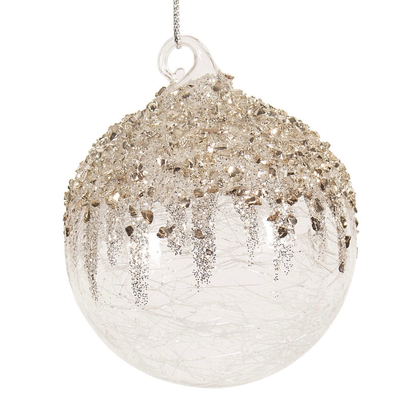 Clear Crackle with Gold and Silver Glitter Glass Ball Ornament | Putti Christmas