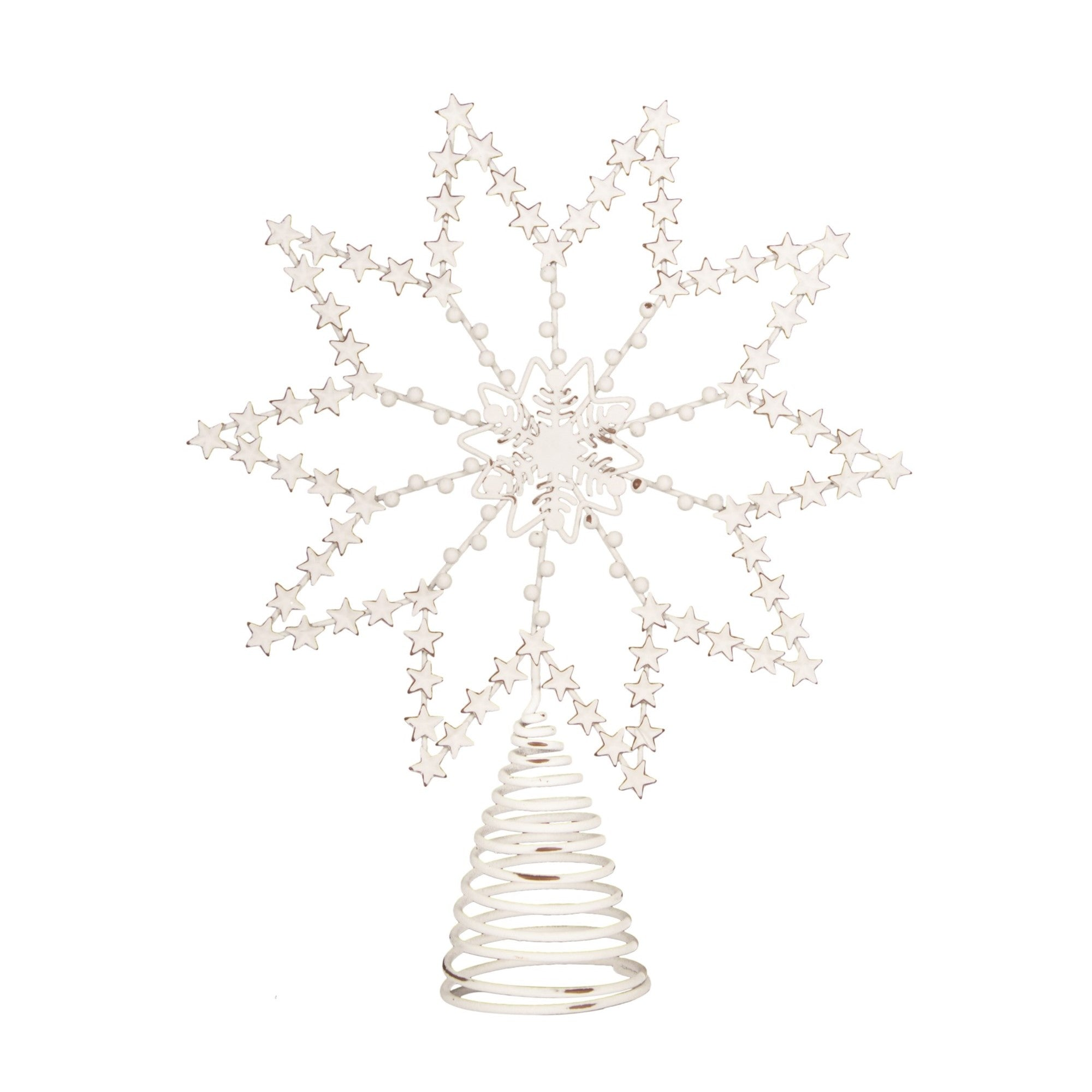 White Stars Snowflake Christmas Tree Topper  | Putti Christmas Toronto Canada