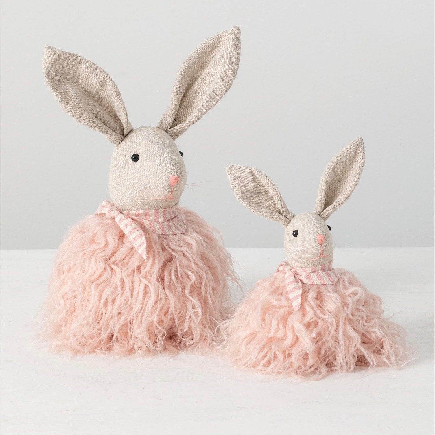 Standing Sitting Linen Rabbit with Pink Fur
