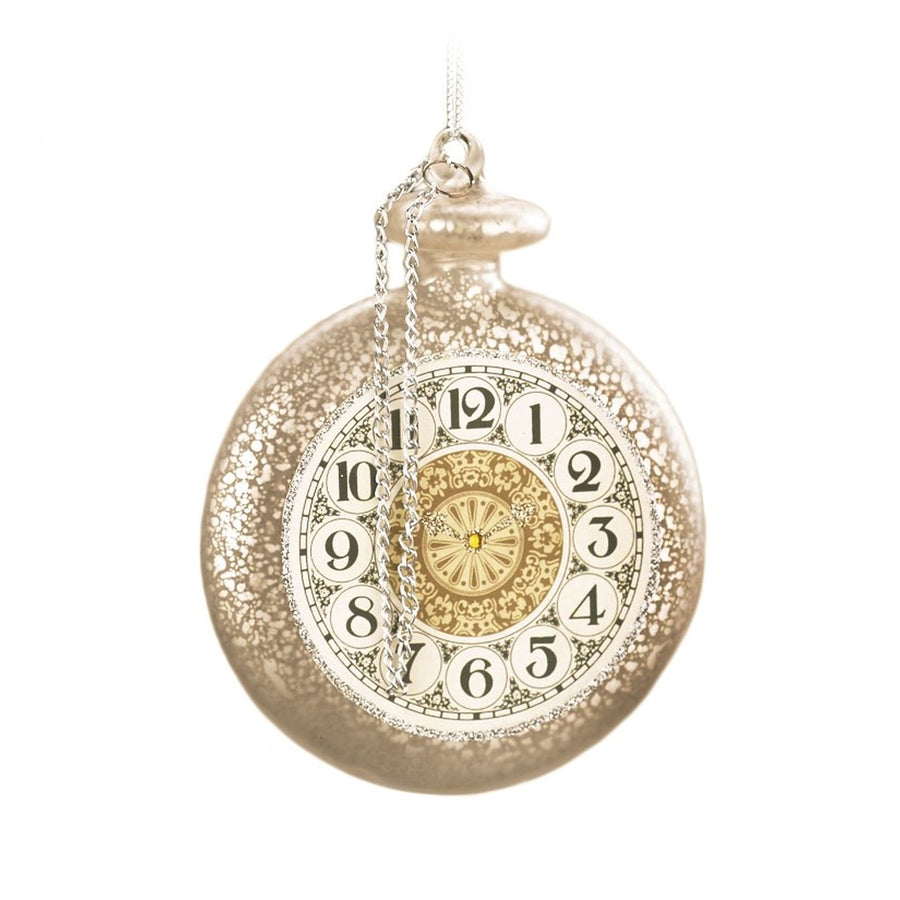 Ivory Clock Disk Glass Ornament