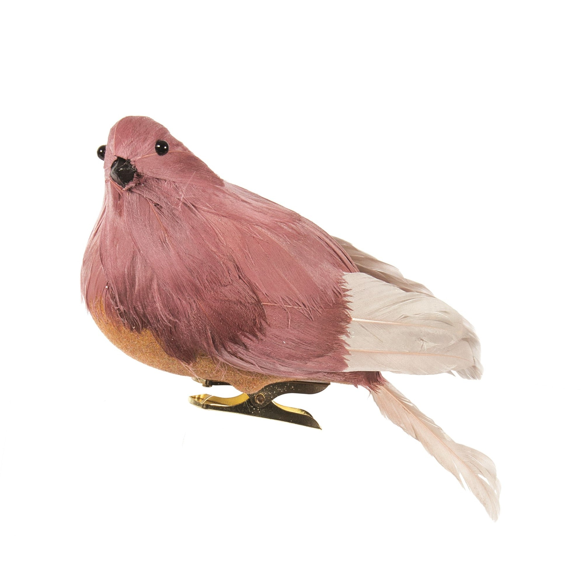 Rose Pink Feather Bird with Clip | Putti Christmas