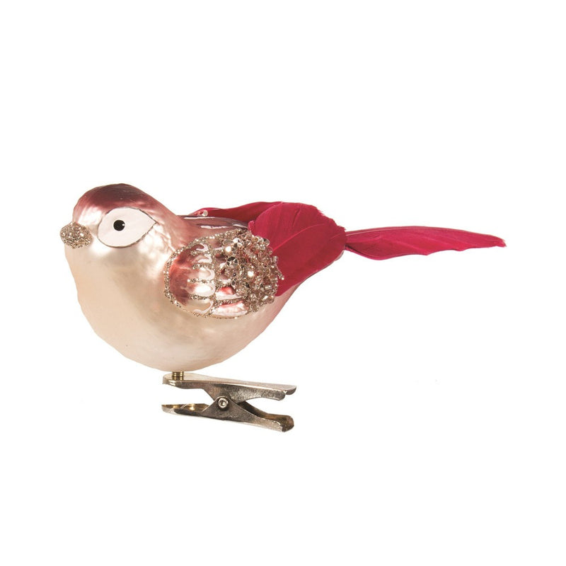 Pink and Burgundy Glass Bird with Clip  | Putti Christmas