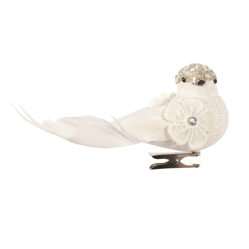 White Feather Bird Clip Ornament with Beaded Head | Putti Christmas