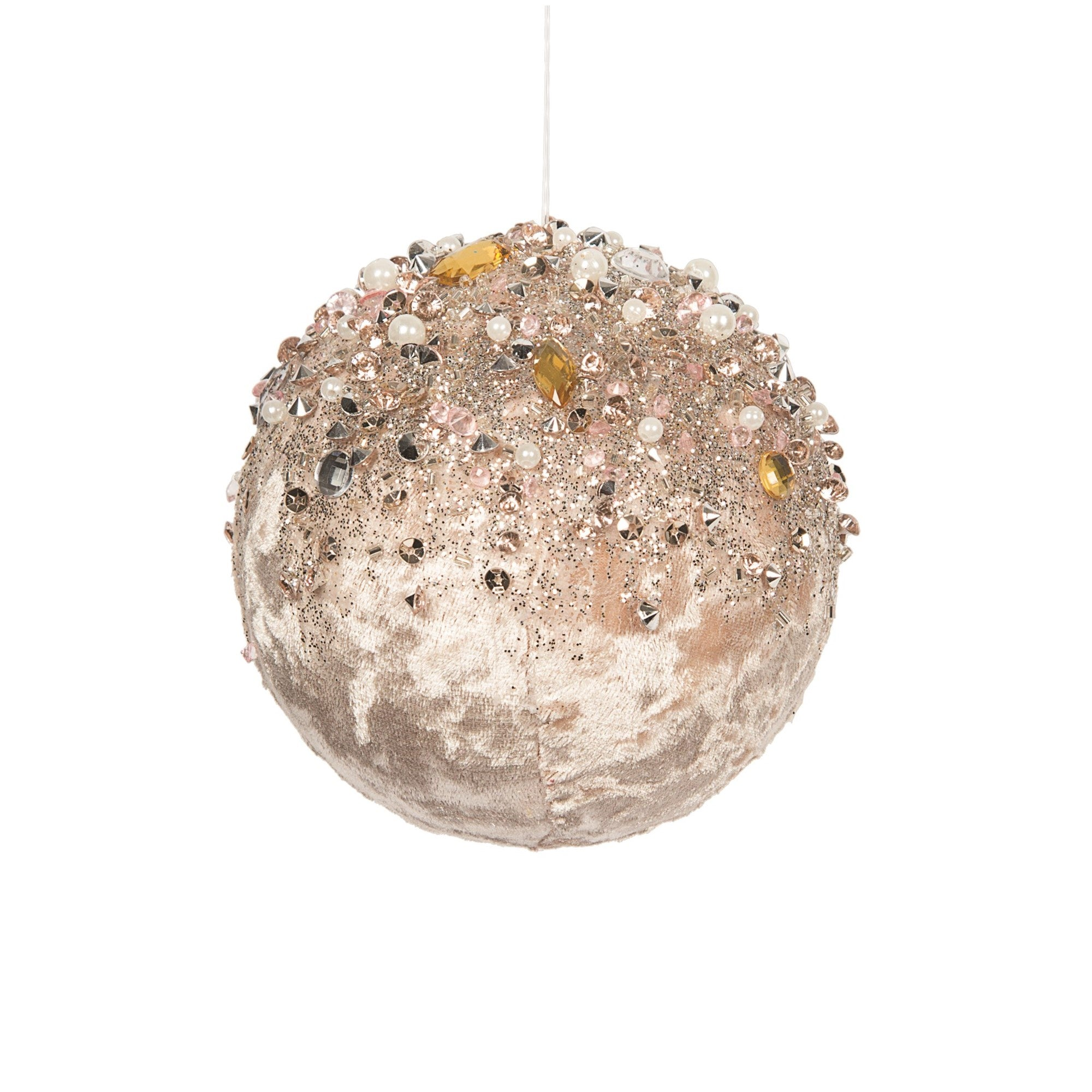 Blush Pink with Pearls and Jewels Velvet Ball Ornament | Putti Christmas