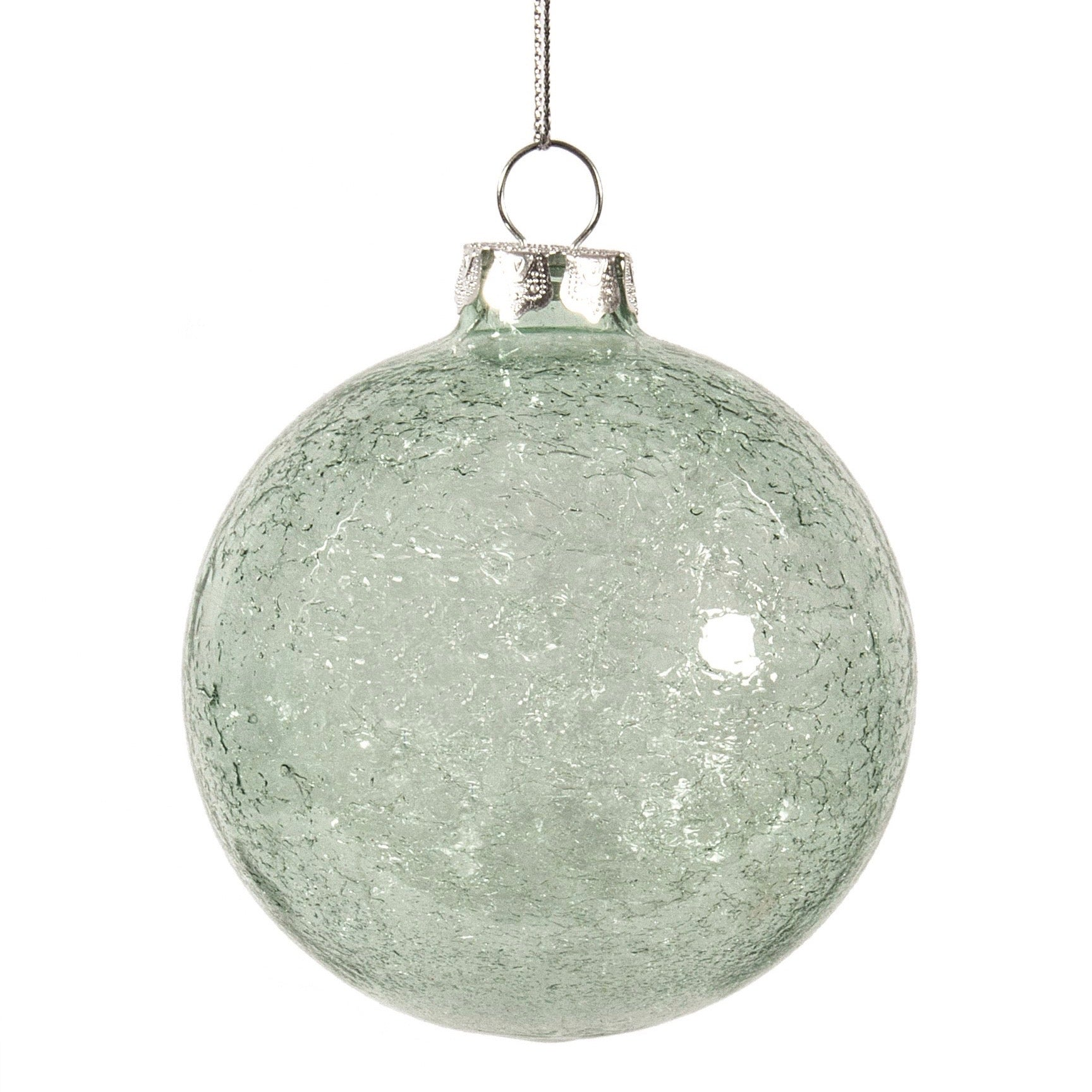 Mint Green with Iced Interior Glass Ball Ornament | Putti Christmas Decorations
