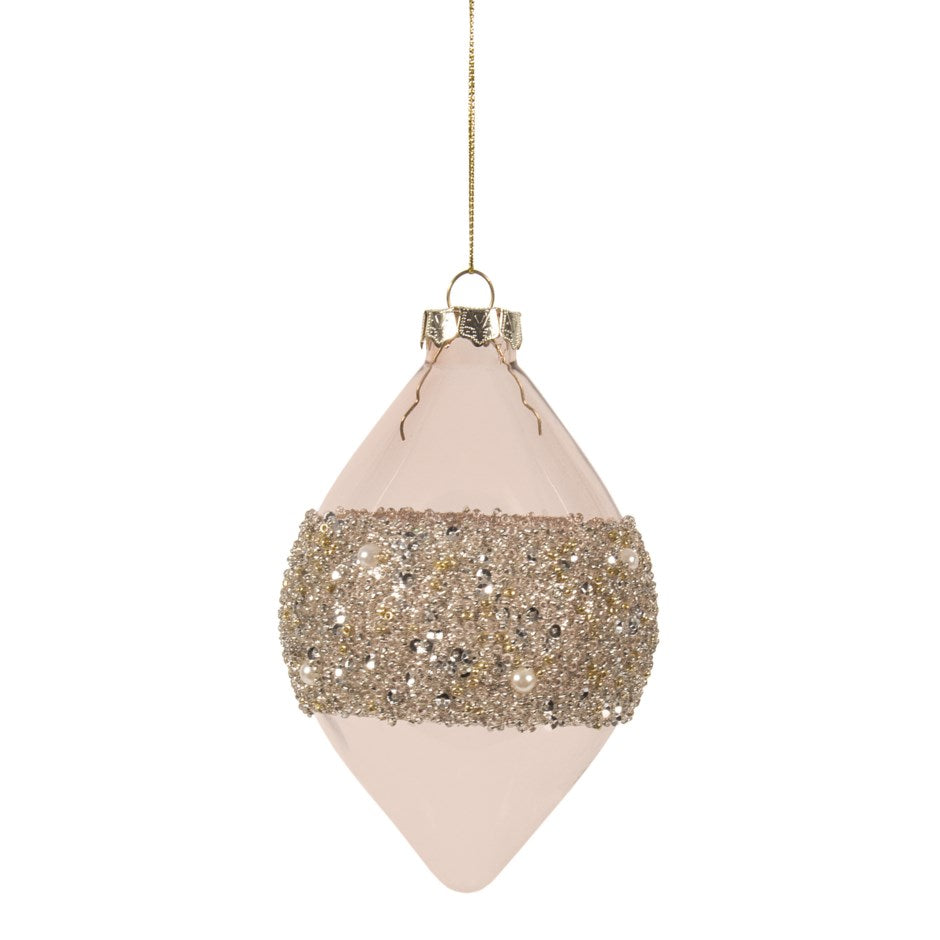 Blush Pink with Beaded Band Glass Double Point Ornament | Putti Christmas