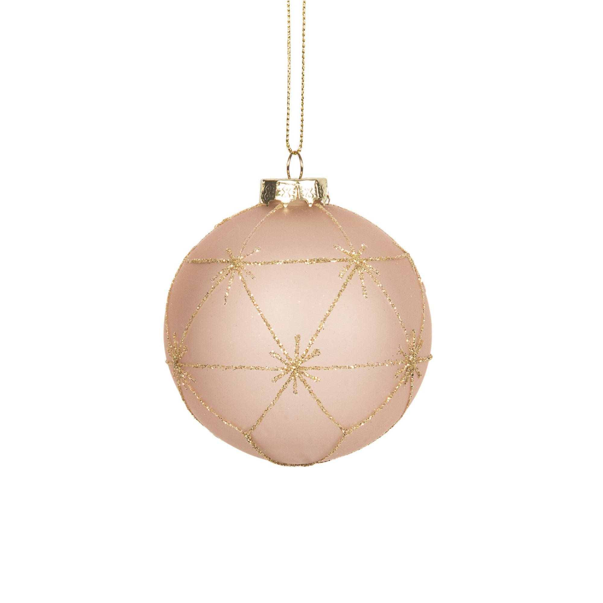 Blush Pink with Gold Glitter Star Grid Ball Ornament | Putti Christmas