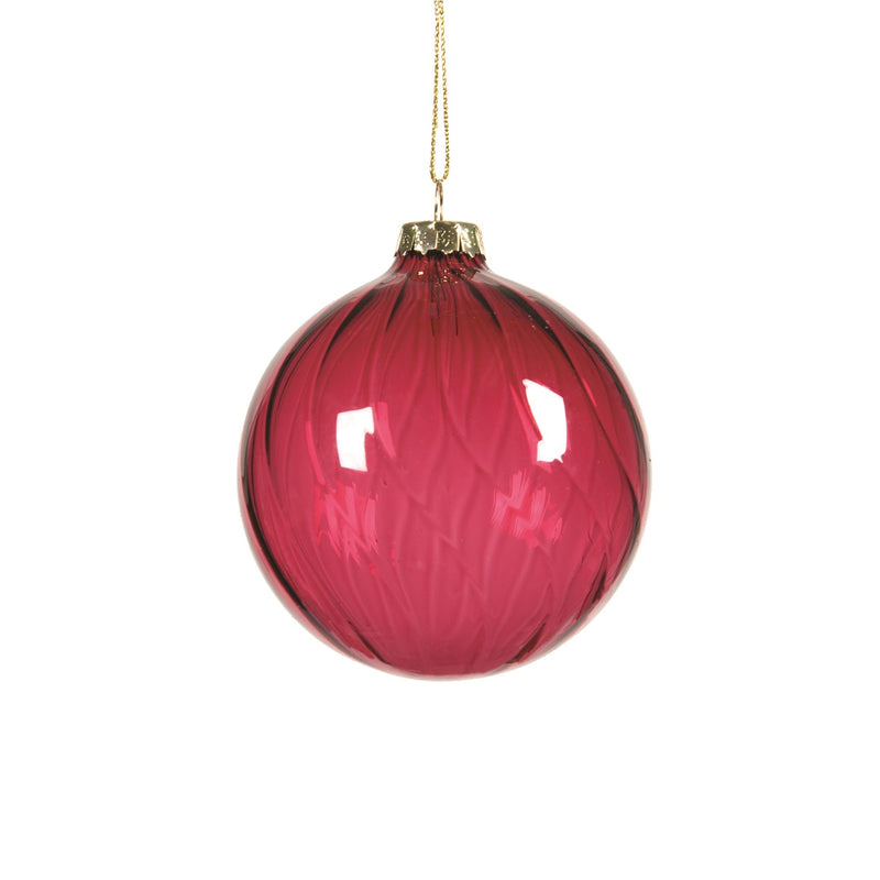 Burgundy Clear Glass Ball Ornament  | Putti Christmas